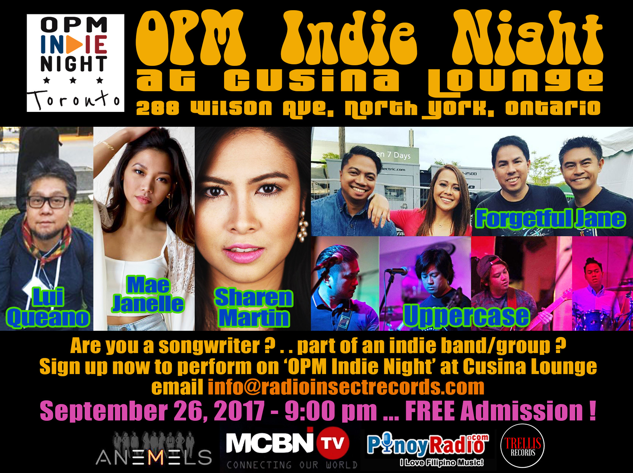 OPM Indie Night at Cusina Lounge - September 26, 2017 - FREE ADMISSION